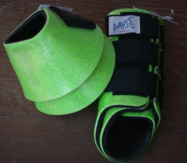 Set | Davis Splint Boots & No Turn Bell Boots | Neongrün Glitzer