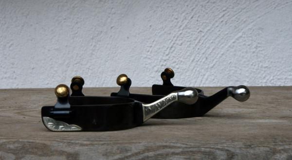 Kugelsporen Brown Steel mit German Silver Auflagen | Turnier geeignet