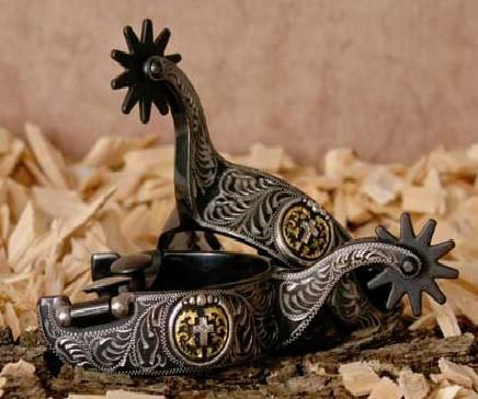 Sporen Black Steel mit Kreuz