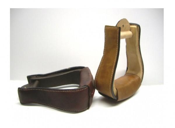 Holzsteigbügel mit Leder überzogen